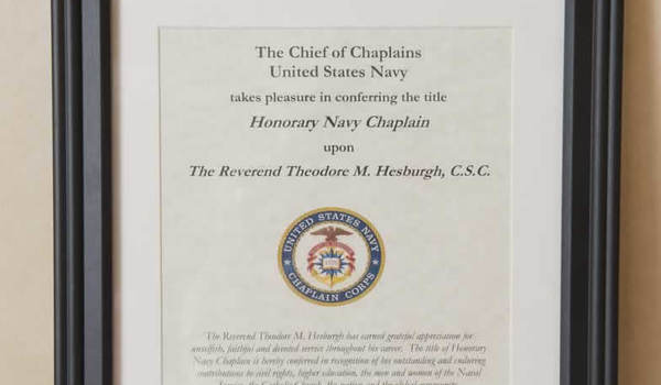 Photo of Navy Chaplain certificate